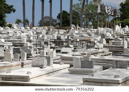 Cuba - the main cemetery of Havana. Necropolis Cristobal Colon. - stock photo
