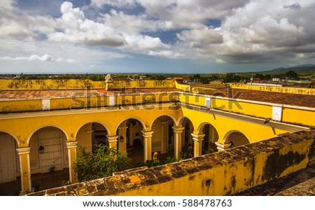 Cuba Trinidad Courtyard Spanish Colonial House Caribbean Coast View Clay Tiles Rooftop 588478763