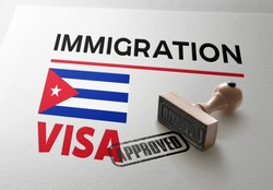 Cuba Visa Approved with Rubber Stamp and national flag