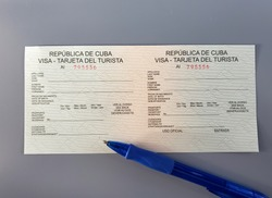 Cuba Visa card application form. This form should be completed by any visitor or tourist entering Cuba.