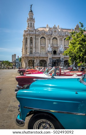 cuban colorful vintage cars in...