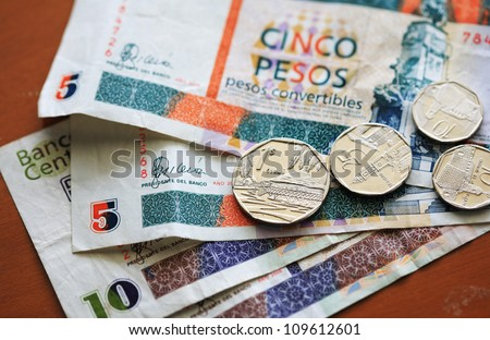 Cuban Convertible Peso notes and coins used by tourists