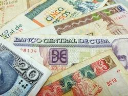 Cuban convertible pesos bills (CUC). Cuban convertible banknotes and coins