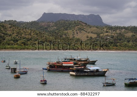 Cuban fishing boats with El Yunque