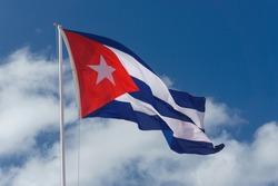 cuban flag with blue sky