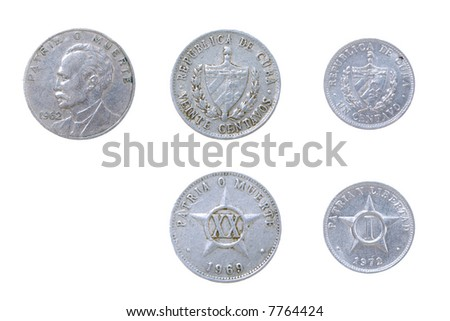 Cuban old coins.set of coins from different countries isolated on a white background