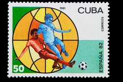 cuban post stamp to the world football championship of 1982 in Spain