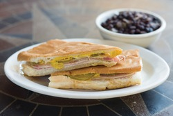 Cuban sandwich with rice and beans