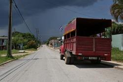Cuban street in small village San Luis