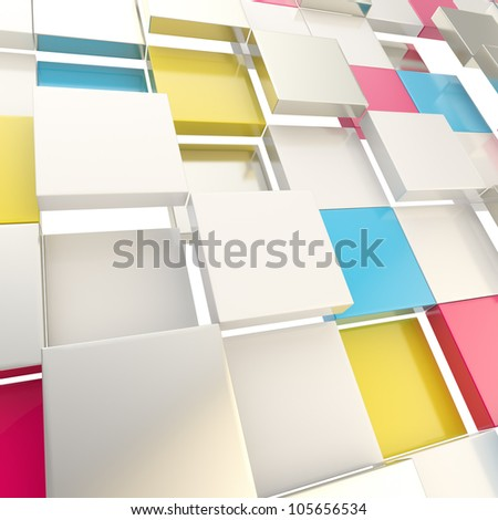 Cube abstract copyspace background made of cmyk colored glossy shiny plates