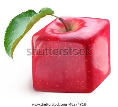 Cube apple on a white background