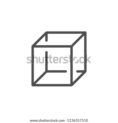 Cube line icon isolated on white