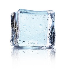 Cube of blue ice isolated on a white background
