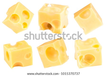 Cube of cheese isolated on a white background. Collection. With clipping path. #1015370737