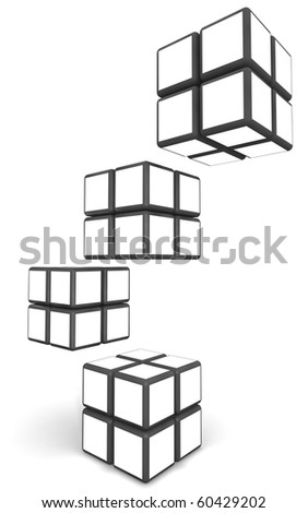 Cube photo frame display image in white space with clipping path