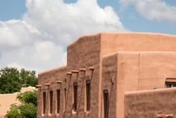 Cube shaped Santa Fe architecture in New Mexico