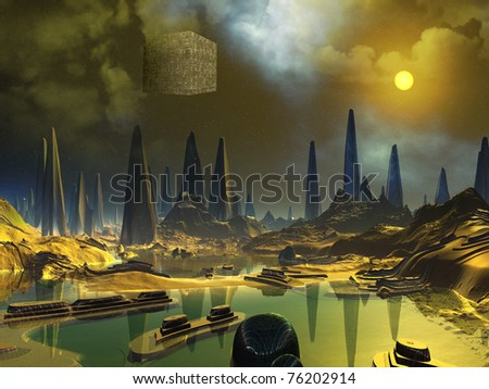 Cube Space Craft over Alien Water World
