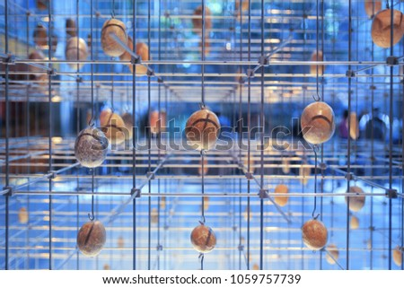 Cube structure with some geological samples in a wireframe. Science background. Foto stock ©