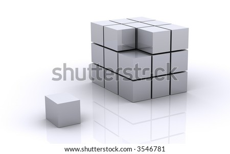 Cube with a missing piece