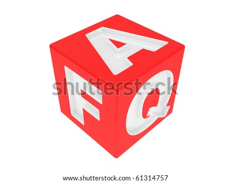 Cube with an inscription FAQ on a white background