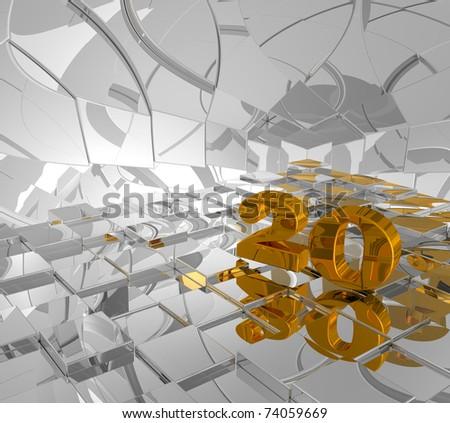 cubes background and golden number twenty - 3d illustration