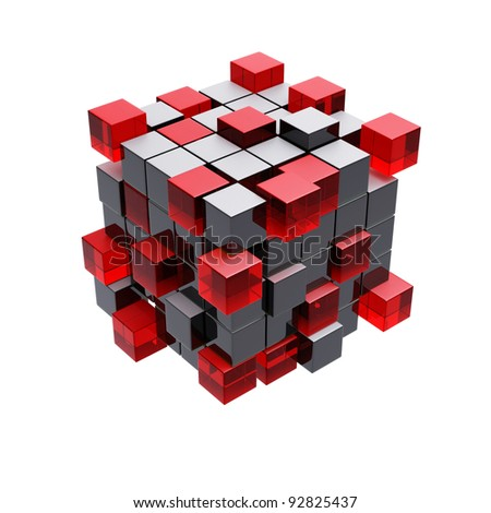 Cubes construction isolated on white 3d model