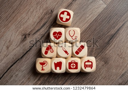 Cubes Dices with medical icons