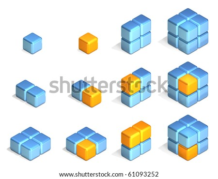 Cubes in Three Dimensional Isometric Perspective