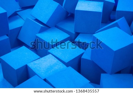 Cubes. Many cubes of blue. Foam cubes. #1368435557