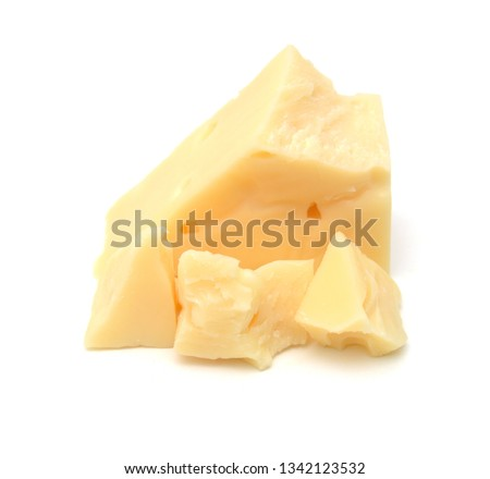 Cubes of cheddar cheese isolated on white  Foto stock ©