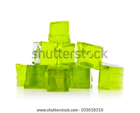 Cubes of Lime jelly on a white background