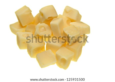 Cubes Of Swiss Cheese Isolated On White Stock Photo ...