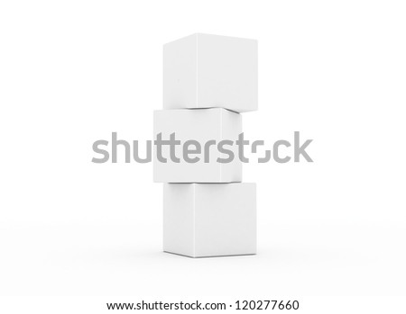 Cubes stacked building concept 3d