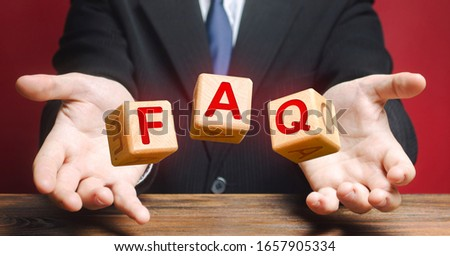 Cubes thrown by a official make word abbreviation acronym FAQ (frequently asked questions). Instructions rules. Convenient form of answers explanations for users and customers. Avoid frequent errors