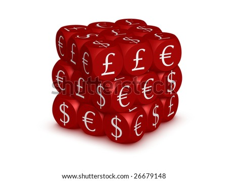 Cubes with currency symbols