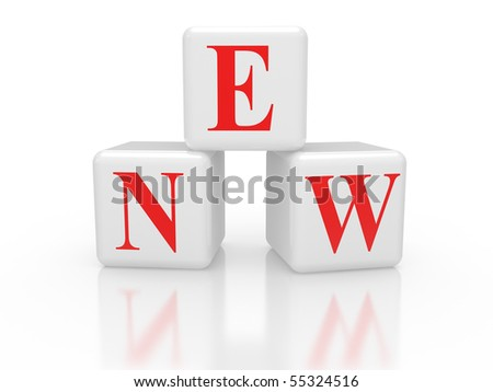 Cubes with inscription NEW on a white background