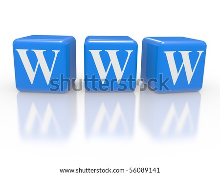 Cubes with inscription WWW on a white background