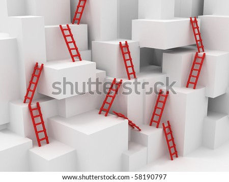 Cubes with ladders. 3d