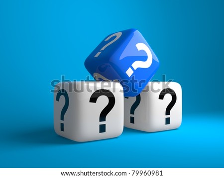 Cubes with question signs on a dark blue background