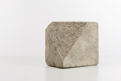 Cubic block of split stone, minimalist style home decoration