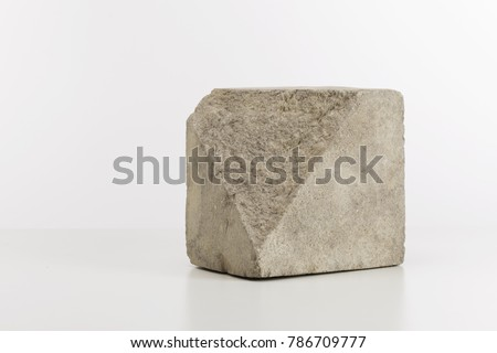 Cubic block of split stone, minimalist style home decoration stock photo
