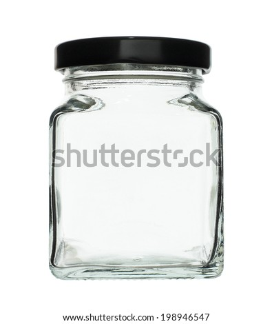 Cubic Shape Glass Canister isolated on white background