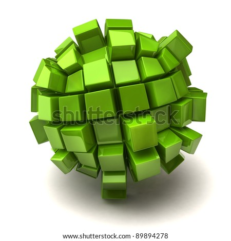 Cubic sphere on white background