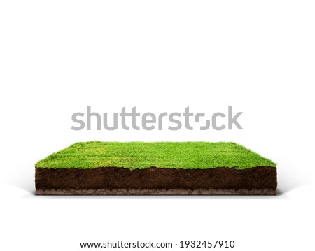 cubical cross section with underground earth soil and green grass on top, cutaway terrain surface with mud and field isolated