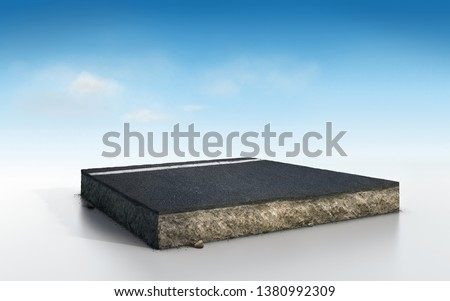 cubical soil land geology cross section with asphalt road, 3D Illustration soil and rock ecology cut away isolated on blue sky with clouds
