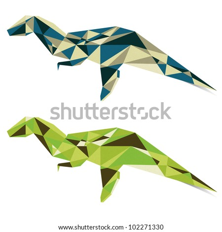Cubist Dinosaur paper style on white background - stock photo