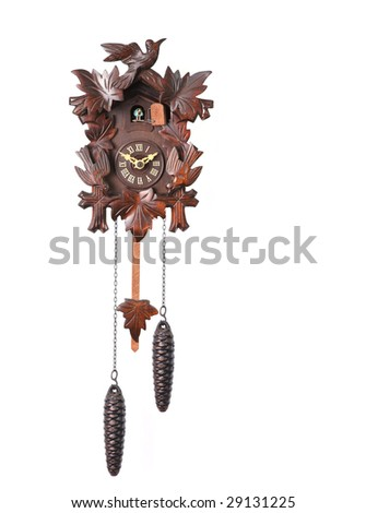 Cuckoo Clock Isolated on a White Background With Hanging Weights