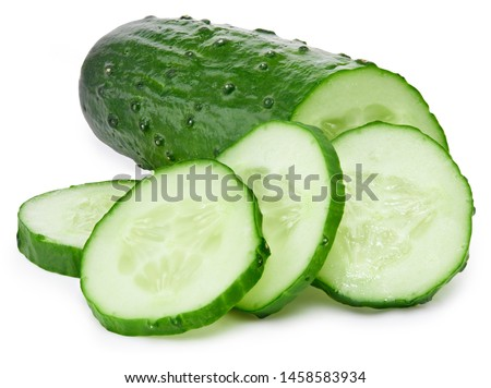 Cucumber and slices isolated on white background. Cucumber Clipping Path. Professional food photos
