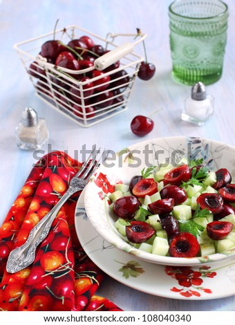 Cucumber and sweet cherry salad