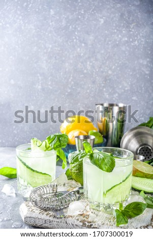 Cucumber basil smash gin and vodka alcohol cocktail. Infused summer mocktail with fresh basil leaves, citrus fruit and cucumber,
